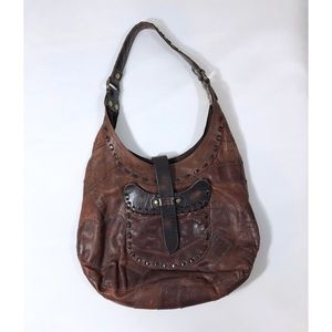 Lucky Brand Brown Leather Patchwork Shoulder Bag